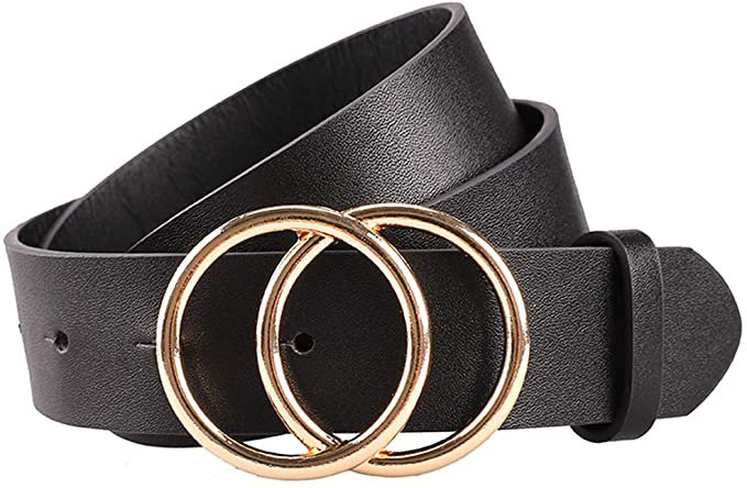 Earnda Women's Leather Belt Fashion Soft Faux Leather Waist Belts For Jeans Dress Black Small at Amazon Women's Clothing store
