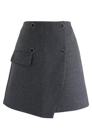 Button Trim Flap Mini Skirt in Smoke - Retro, Indie and Unique Fashion