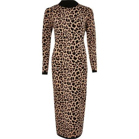 Brown leopard print midi dress   River Island