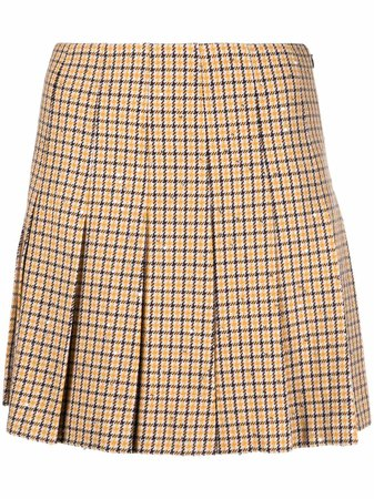 Alessandra Rich pleated houndstooth mini skirt