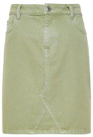 Khaki Denim Mini Skirt