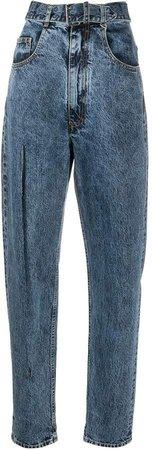Split-Leg Tapered Denim Jeans