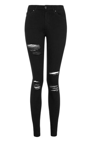 MOTO Black Super Rip Leigh Jeans - Leigh Jeans - Jeans - Topshop