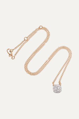 Rose gold Nudo 18-karat rose and white gold diamond necklace | Pomellato | NET-A-PORTER