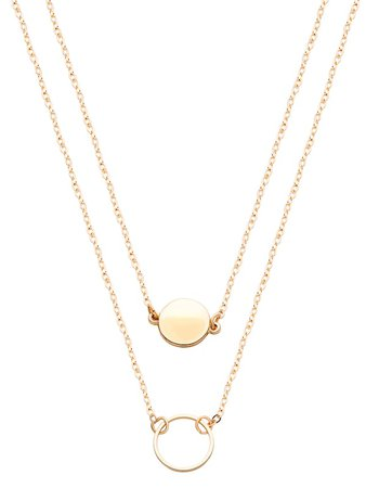 Cheap Gold Double Layer Geometric Round Necklace for sale Australia   SHEIN
