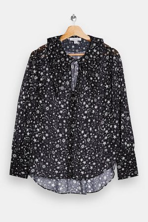 Black Oversized Star Collar Blouse | Topshop