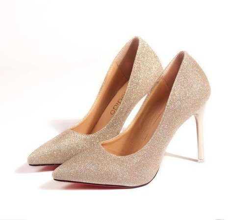 Women Classic Gold Sequins Pointed Heels for sale in Heels from Clothing, Shoes & Accessories near Ellerslie, Auckland (NZ) - Unixmo Marketplace