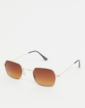 Jeepers Peepers hexagonal sunglasses in gold   ASOS