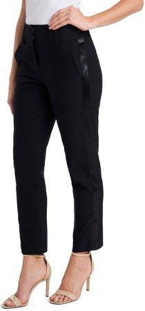 Satin Side Stripe Straight Leg Pants