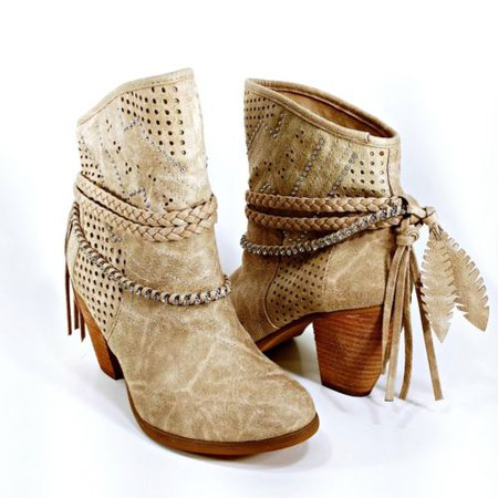NOT RATED Women's Heeled Ankle Booties - Tan Faux Suede Embellished Straps - 7.5 | eBay