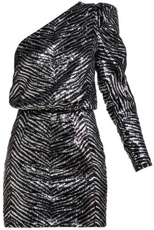 One Shoulder Zebra Sequinned Mini Dress - Womens - Silver