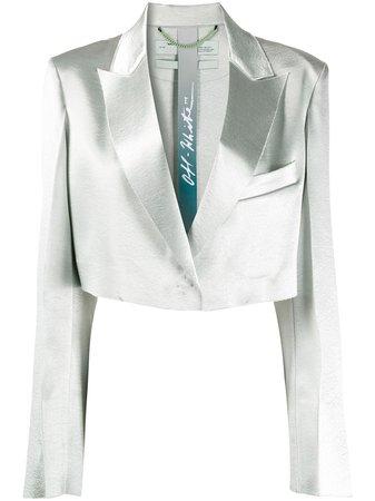 Off-White Blazer Crop En Satin - Farfetch