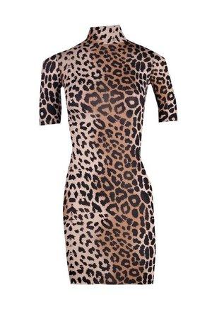 Petite Halloween Leopard Print Bodycon Dress | Boohoo