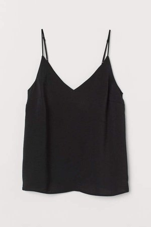 Satin V-neck Camisole Top - Black
