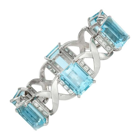 Aquamarine Diamond Bracelet For Sale at 1stDibs