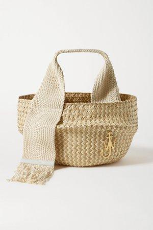 Beige Basket leather-trimmed woven raffia tote   JW Anderson   NET-A-PORTER