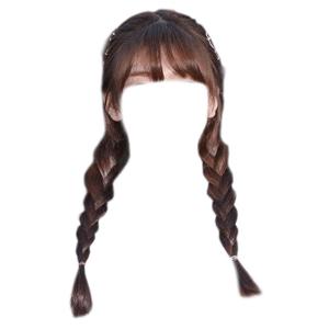 brown hair png bangs and twin braids