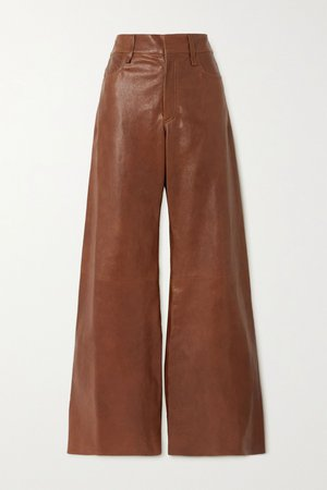 Brown Leather flared pants | Chloé | NET-A-PORTER