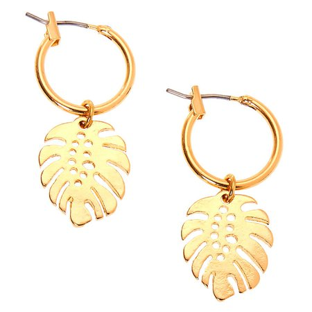 Gold 10MM Leaf Charm Hoop Earrings | Claire's US