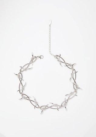 Silver Barbed Wire Choker | Dolls Kill