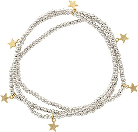 Amazon.com: And Lovely Silver Plated Bead Stretch Bracelet with 14K Gold Plated Star Charm - Stackable Stretch Bracelet - Set of 3 (Silver): Jewelry