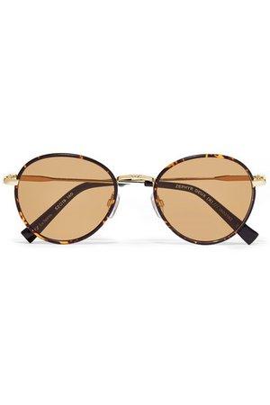 Le Specs   Zephyr Deux round-frame tortoiseshell acetate and gold-tone sunglasses   NET-A-PORTER.COM