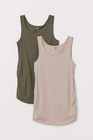 MAMA 2-pack Cotton Tank Tops - Beige