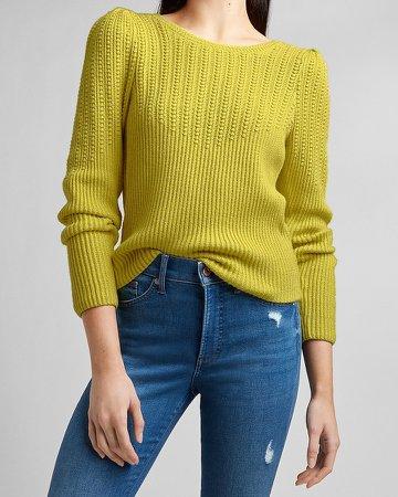 Mixed Stitch Puff Sleeve Crew Neck Sweater