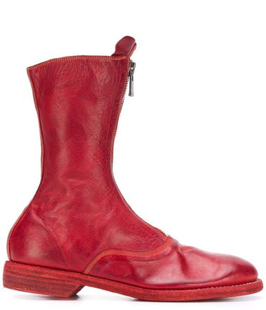 Front Zipped Leather Boots