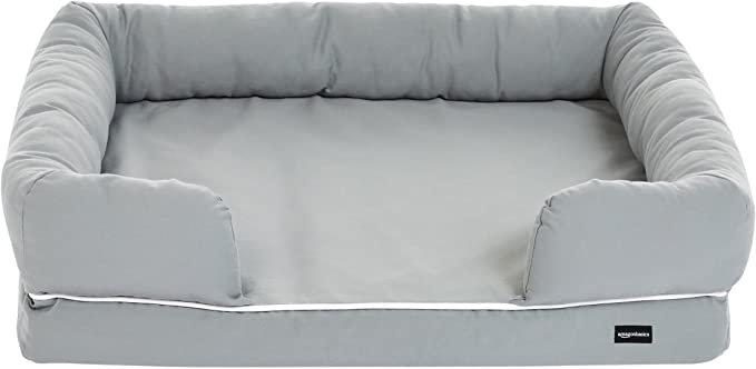 Amazon.com : AmazonBasics Memory Foam Bolster Dog Bed, Medium (36 x 29 Inches) Grey : Pet Supplies
