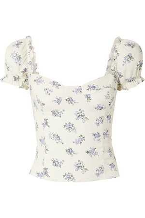 Reformation | Jewel cropped shirred floral-print top