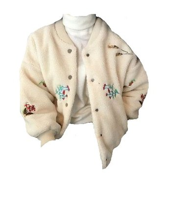 plush jacket with white turtleneck