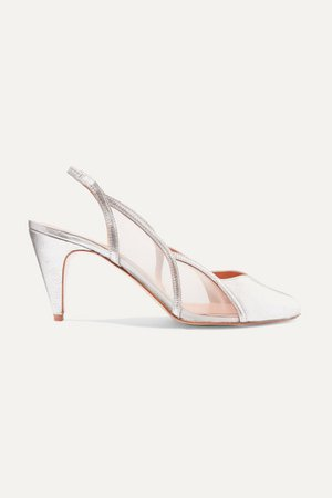 Alison Metallic Leather And Mesh Slingback Pumps - Silver