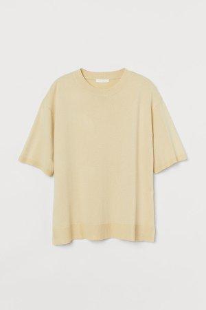 Fine-knit T-shirt - Yellow