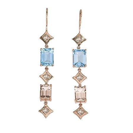 Regalo Duster Earrings in 14k Rose Gold with Champagne Diamonds, Aquamarine & Morganite by GiGi Ferranti