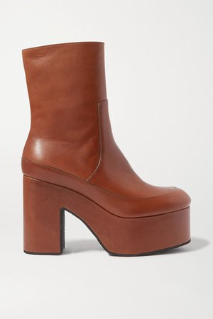Leather Platform Ankle Boots - Tan