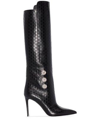 Balmain Opaline 95mm Monogram knee-high Boots - Farfetch