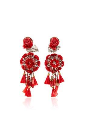 Red Rop Flower Earrings with Tassels by Ranjana Khan | Moda Operandi