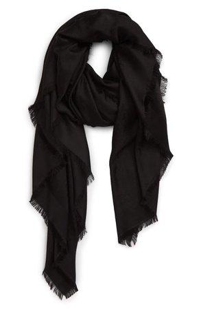 Saint Laurent Monogram Jacquard Silk & Wool Scarf