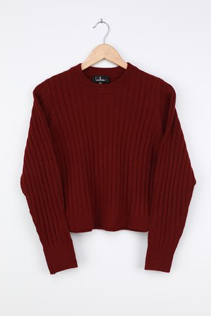 Burgundy Sweater - Ribbed Kit Sweater - Burgundy Ribbed Sweater