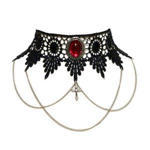 Ruby red gothic choker necklace lace draped chains steampunk wedding goth | eBay