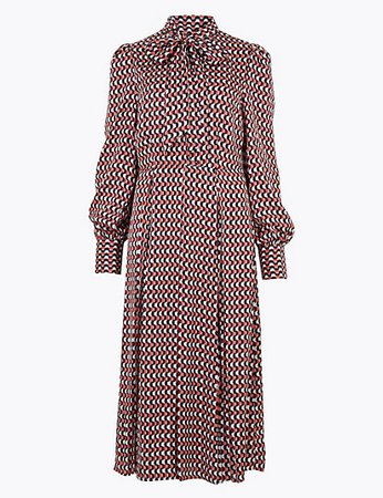 Satin Geometric Midi Shirt Dress | Autograph | M&S