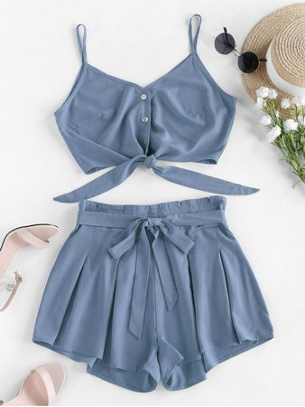 [45% OFF] 2021 ZAFUL Pleated Knotted Crop Cami Two Piece Set In BLUE GRAY | ZAFUL