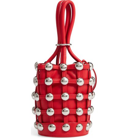 Alexander Wang Mini Roxy Studded Cage Leather Bucket Bag   Nordstrom
