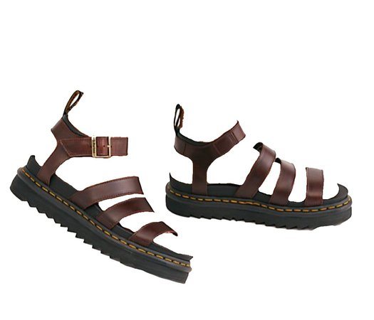 brown doc martens sandals