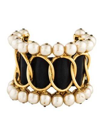 Chanel Faux Pearl & Leather Cuff - Bracelets - CHA336921   The RealReal