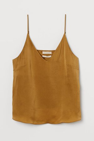 V-neck Silk Camisole Top - Yellow