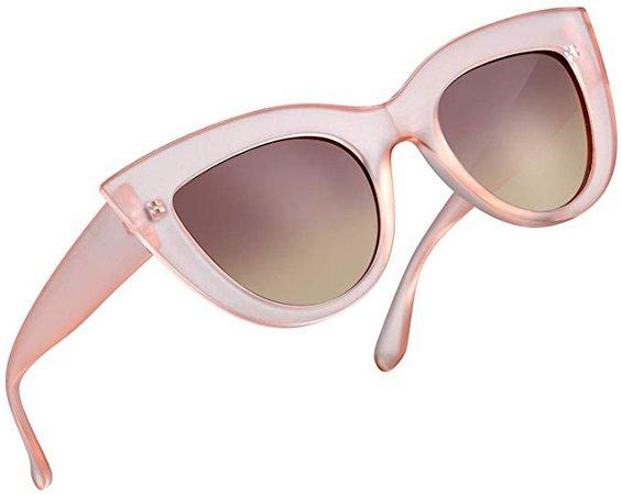 Amazon.com: Retro Cat Eye Polarized Sunglasses Women Vintage CatEye Sun Glasses UV400 Shades (Pink Frame Tea Lens): Clothing