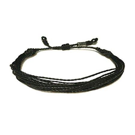 Amazon.com: RUMI SUMAQ Black Rope String Bracelet for 6.5-7.5 Inch Wrist : Unisex Handmade Multistrand Pull Cord Adjustable Black Awareness Beach Bracelet for Men and Women: Handmade