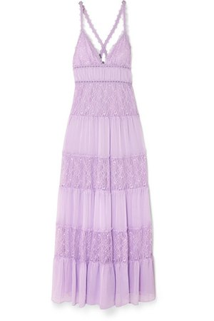 Alice + Olivia | Amena tiered lace and crepon maxi dress | NET-A-PORTER.COM